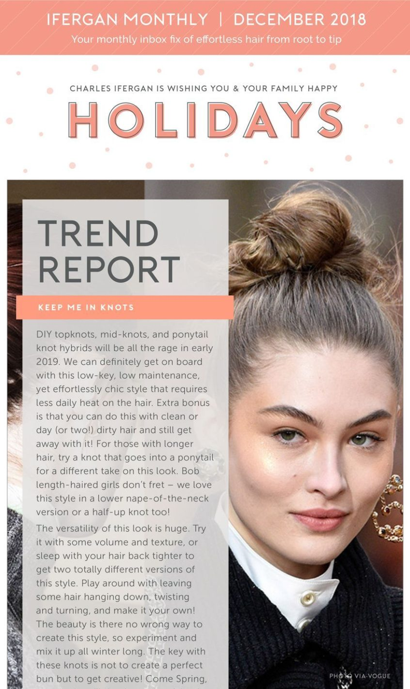 dit top knot hair style - december 2019 Charles Ifergan Salon in Chicago - Newsletter