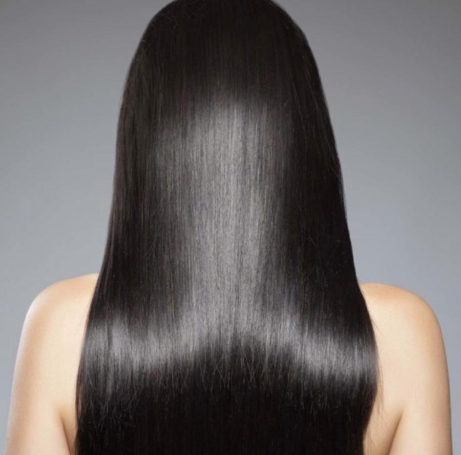 Slick silky black hair