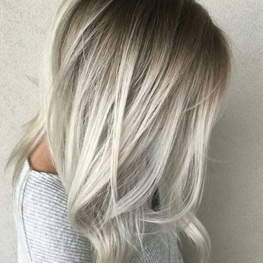 platinum blonde hair with shadow roots