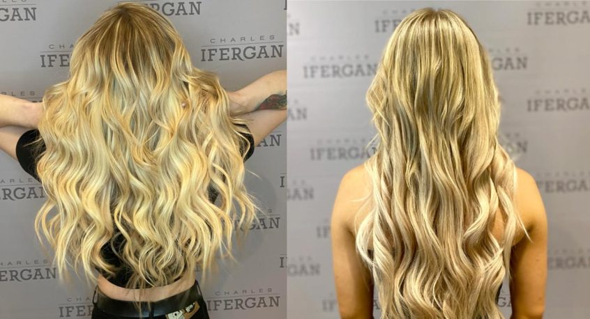 Hair extenstions - before & after