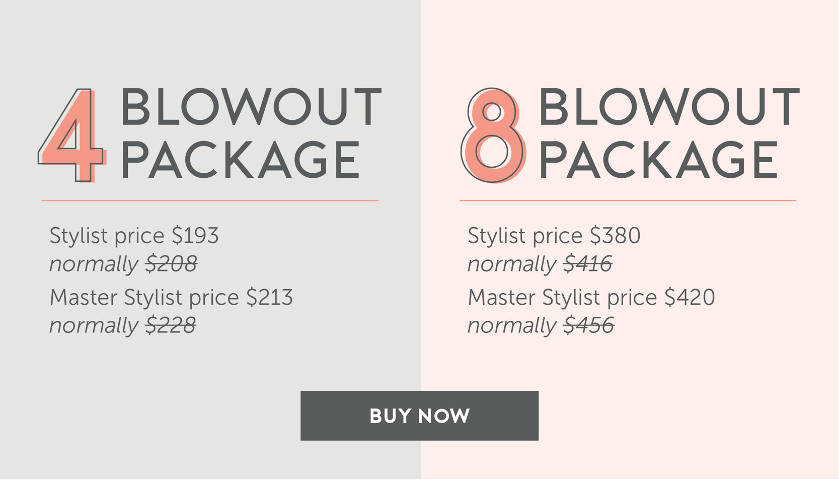 4 Blowout Package - Stylist price $193/Normally $208, Master price $213/normally $228 | 8 Blowout Package - Stylist Price $380/Normally $416 Master Price - $420/normally $456