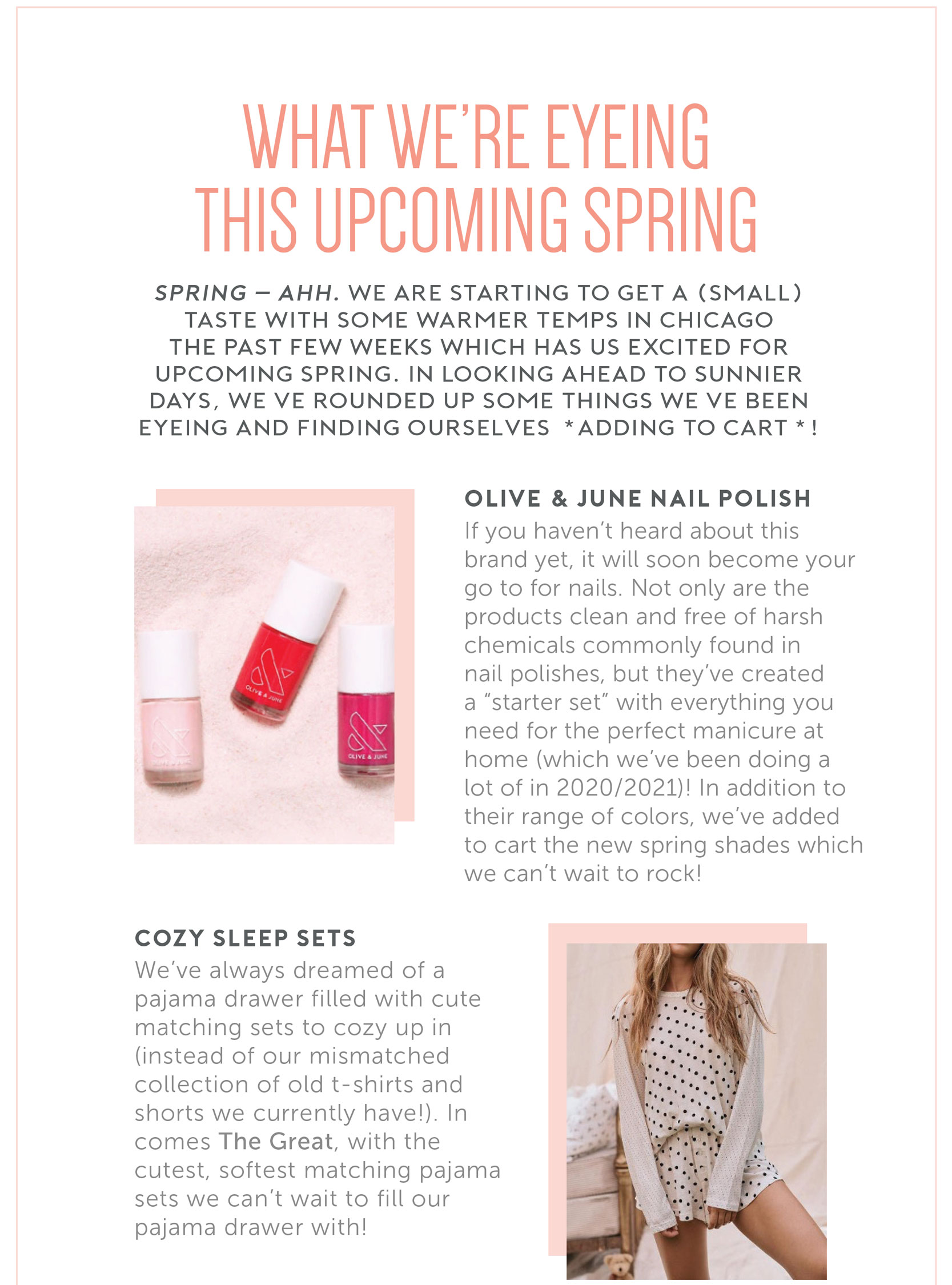 What we're eyeing this Spring - Olive & June Nail Polish | Cozy Sleep Sets