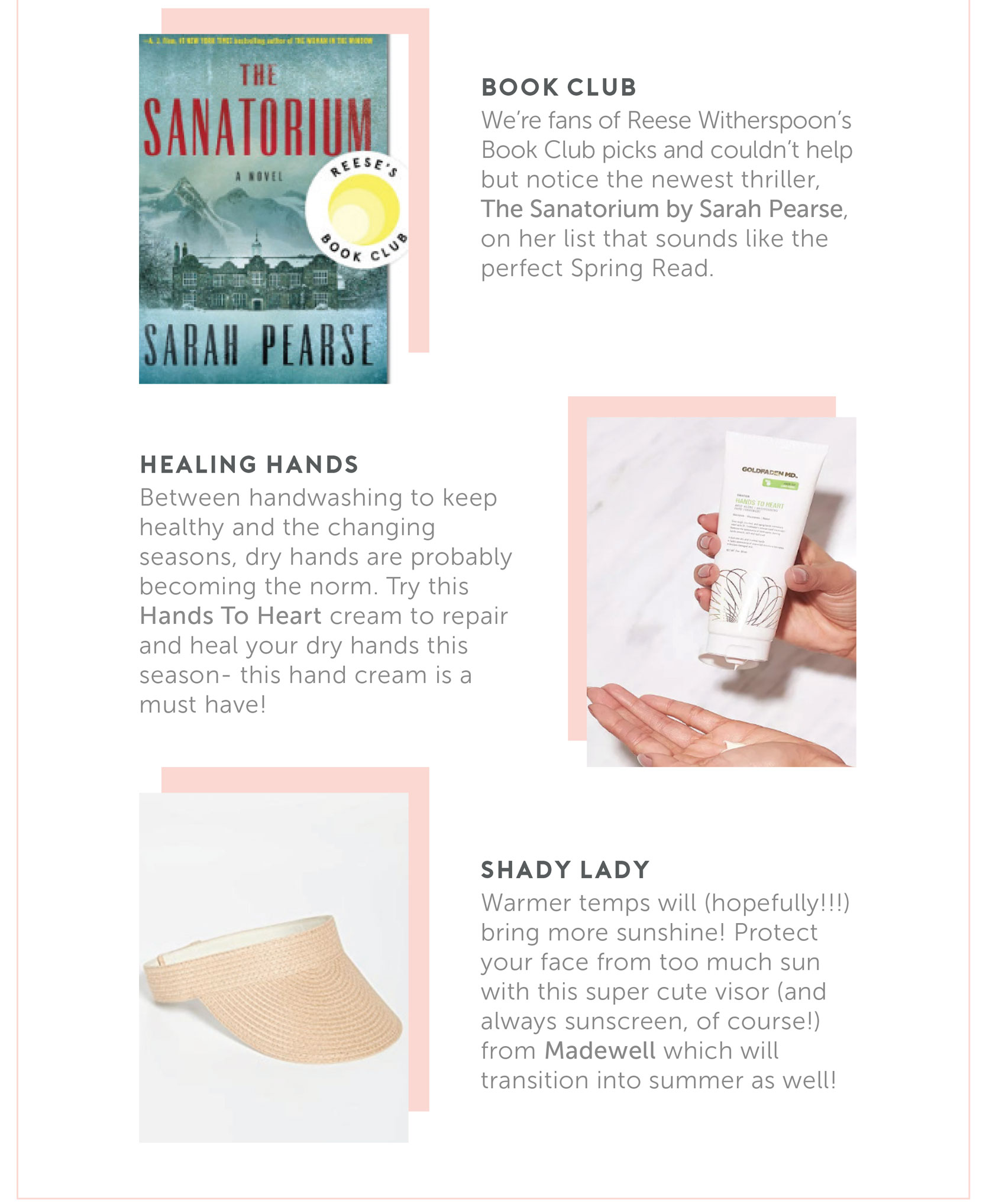 What we're eyeing this Spring - The Sanatorium by Sarah Pearse | Healing Hands | Shady Lady