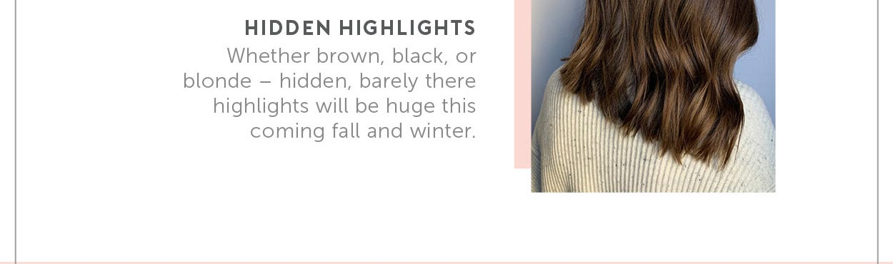 Hidden Highlights Whether brown, black, or blonde- hidden, barely there highlights will be huge this coming fall and winter.