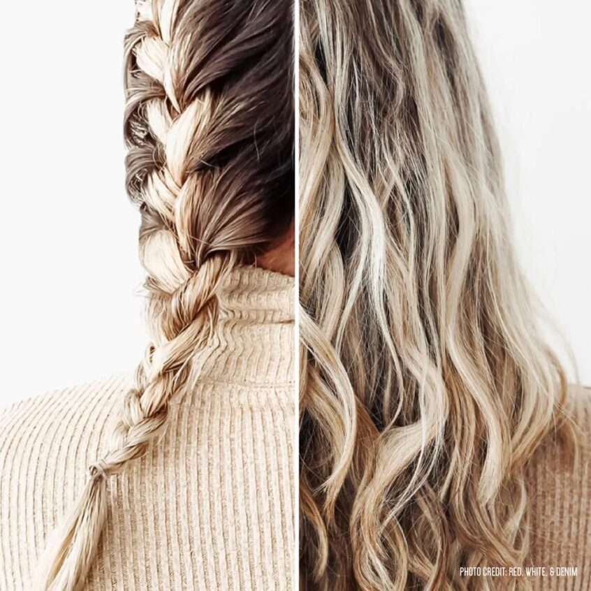 French braid and wavy blonde hair - No-heat hair styles