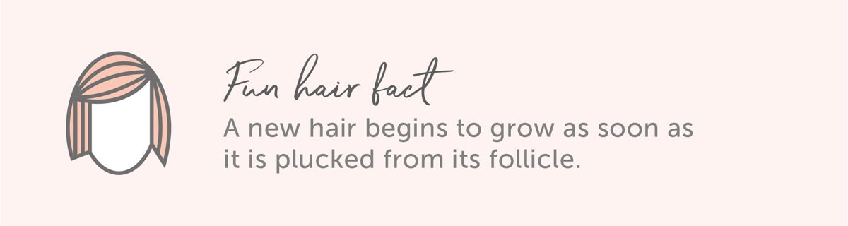 Hair Fun Fact: A new hair begins to grow as soon as it is plucked from its follicle.