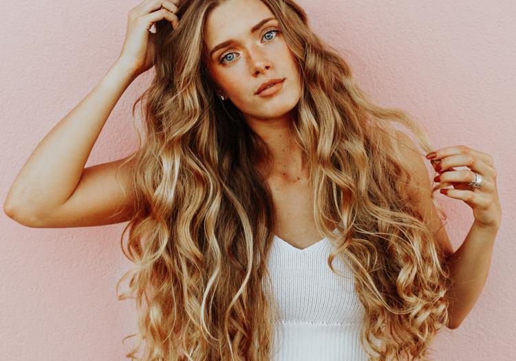 Woman with long beachy blonde hair
